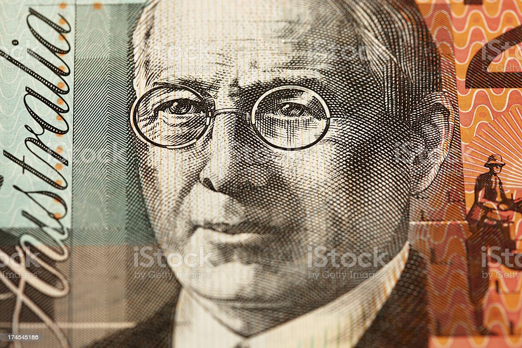 Macro of Aussie $20 Note stock photo