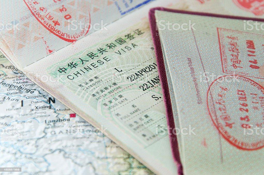 Macro of Chinese visa in passport stock photo