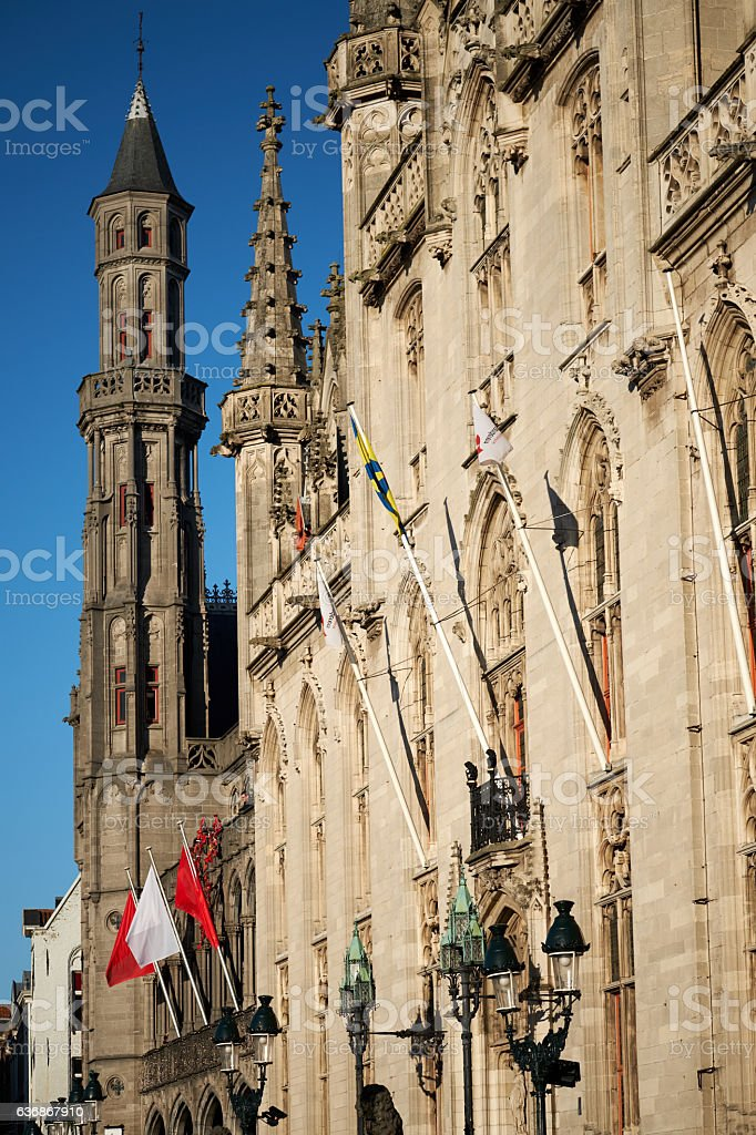 Macro of church steeple at dusk from Bruges, Belgium stock photo