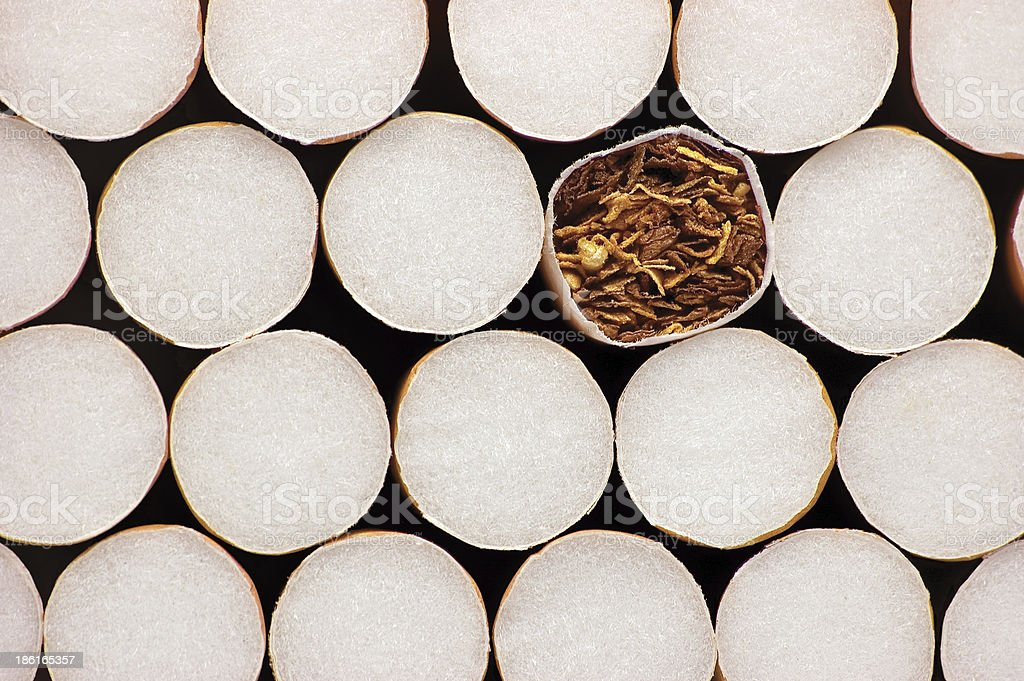 Macro Of Class A Filter Cigarettes, Large Isolated Detailed Closeup royalty-free stock photo