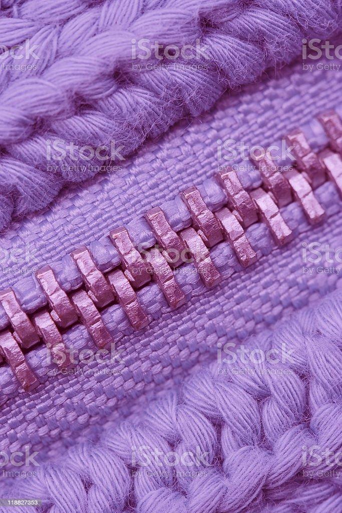 Macro of Closed Zipper on Sweater stock photo