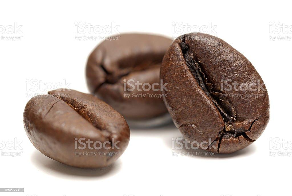 Macro of Coffee Beans on white background royalty-free stock photo