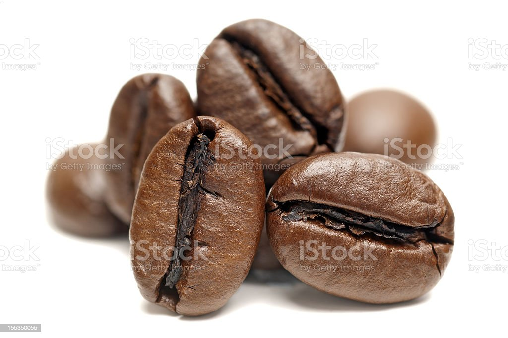 Macro of Coffee Beans on white background royalty-free stock photo