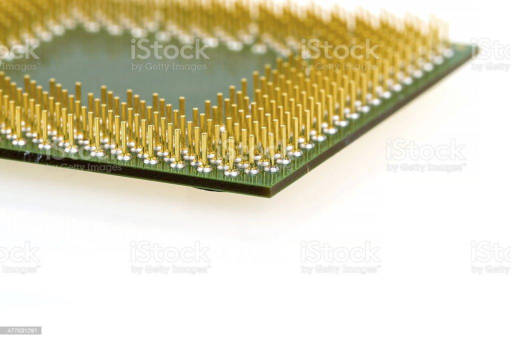 macro of computer processor isolated stock photo