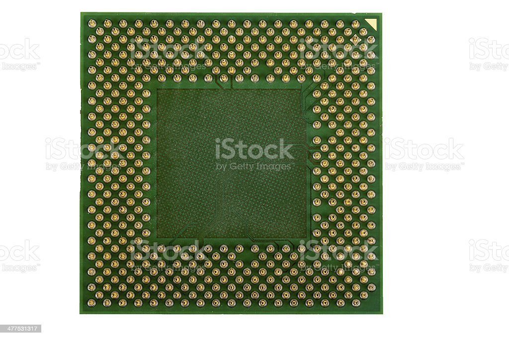 macro of computer processor isolated royalty-free stock photo