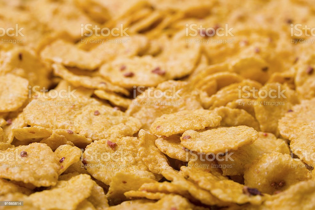 Macro of cornflakes royalty-free stock photo