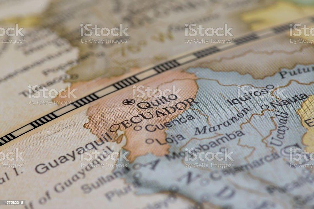 Macro of Equador on a globe, narrow depth of field stock photo