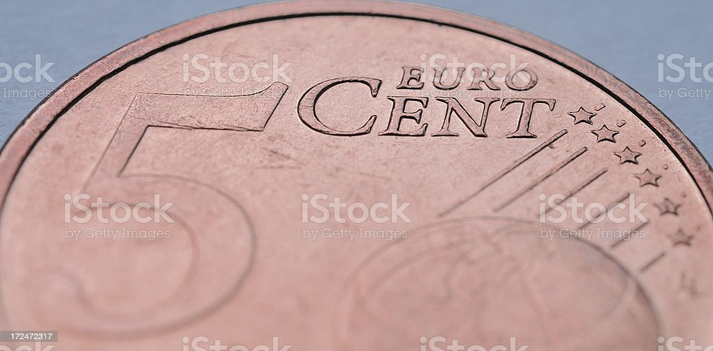 Macro of five euro cent coin stock photo