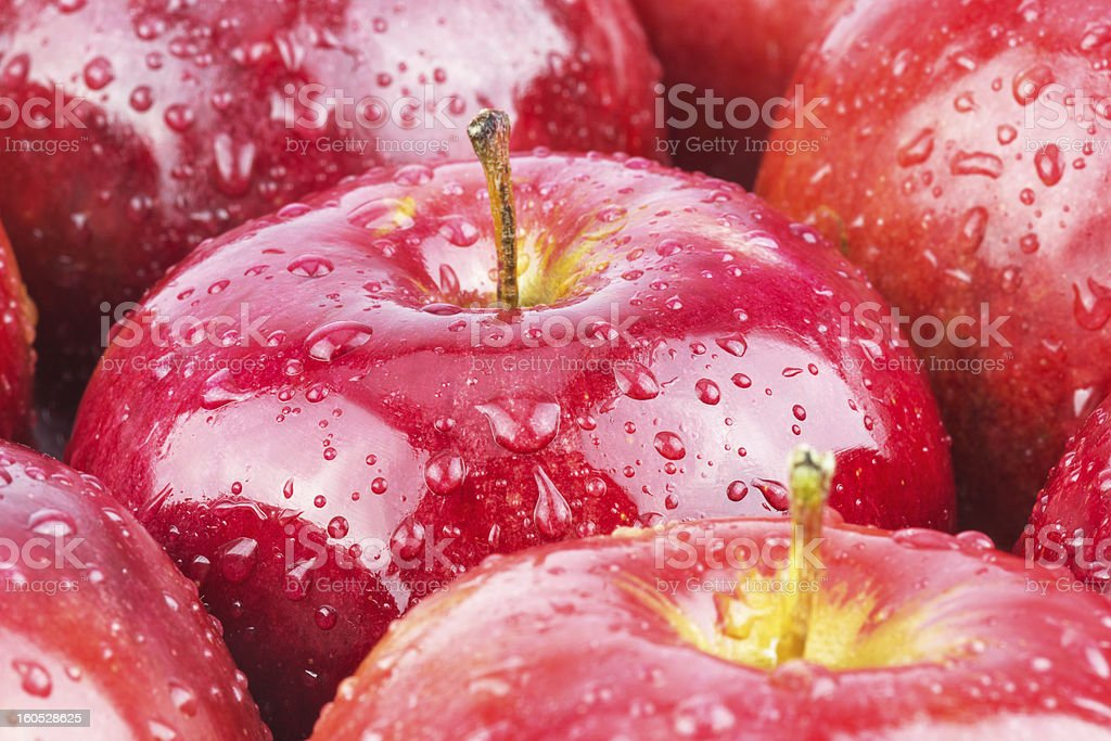 Macro of fresh red wet apples royalty-free stock photo