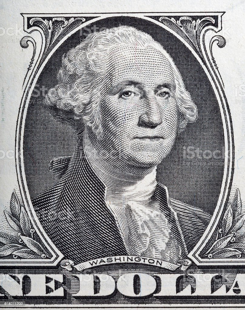 Macro of George Washington on one dollar bill stock photo