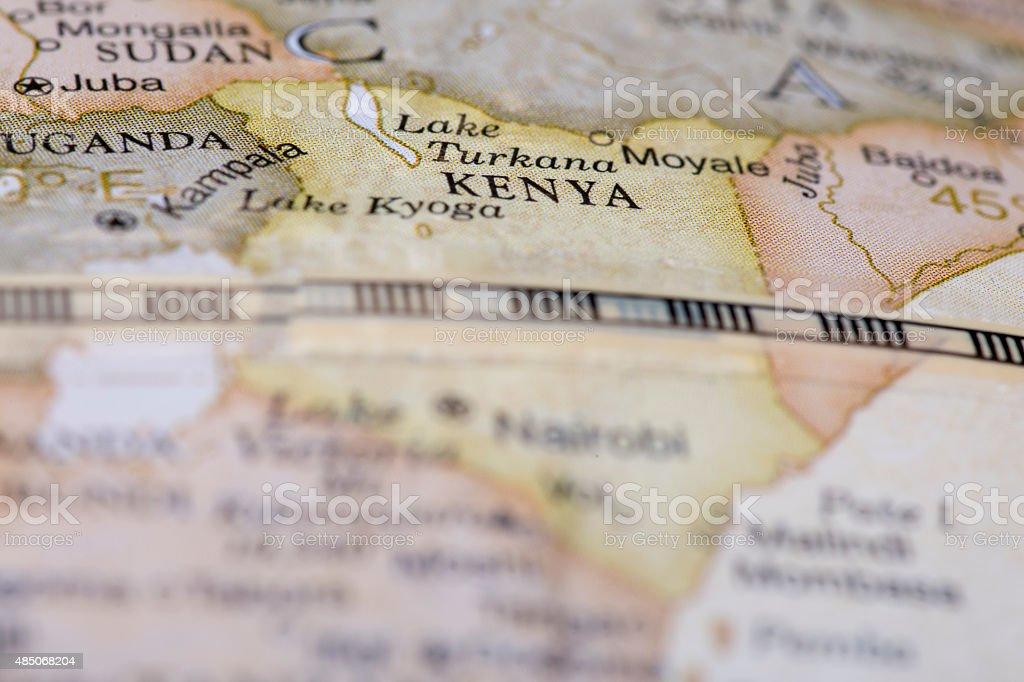 Macro of Kenya on globe stock photo