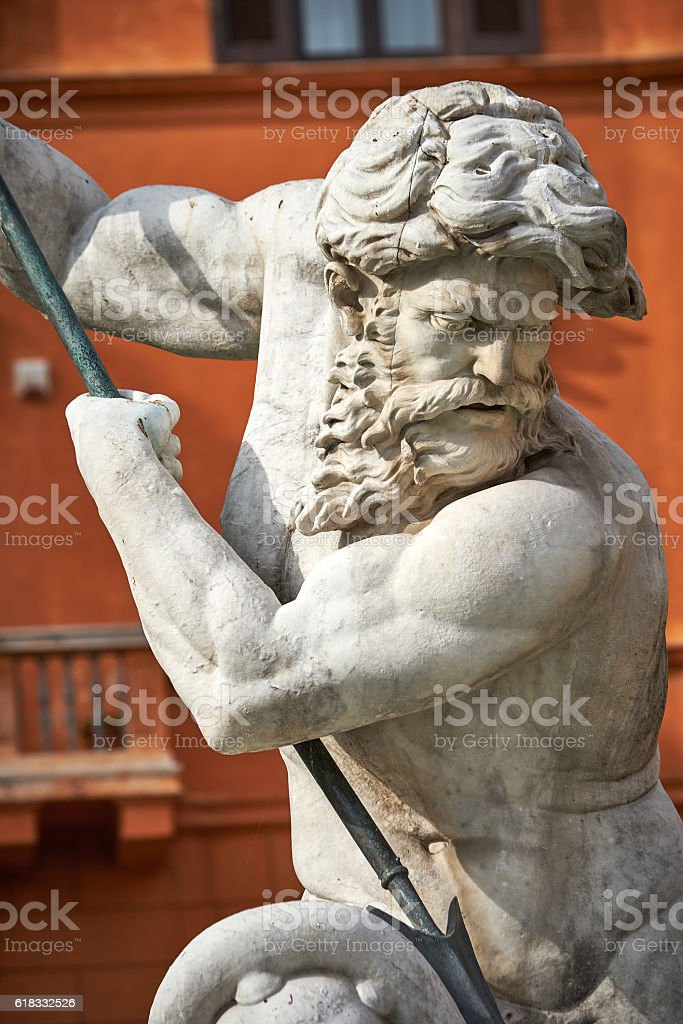 Macro of marble statue of Triton or Naptune stock photo