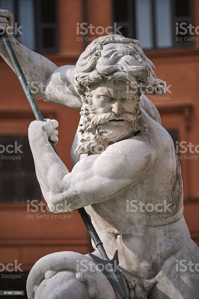 Macro of marble statue of Triton or Neptune stock photo