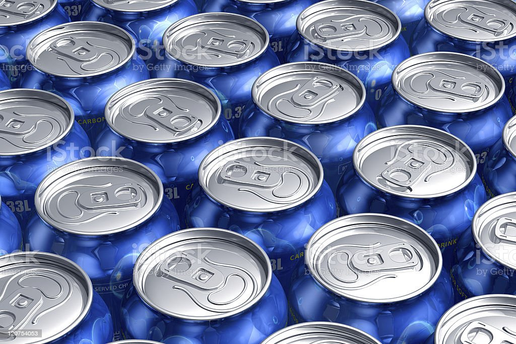 Macro of metal cans with refreshing drinks stock photo