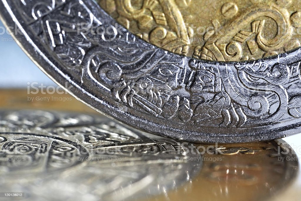 macro of mexican coins with a selective focus stock photo