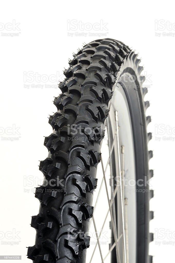 Macro of mountain bike tire on a pure white background stock photo