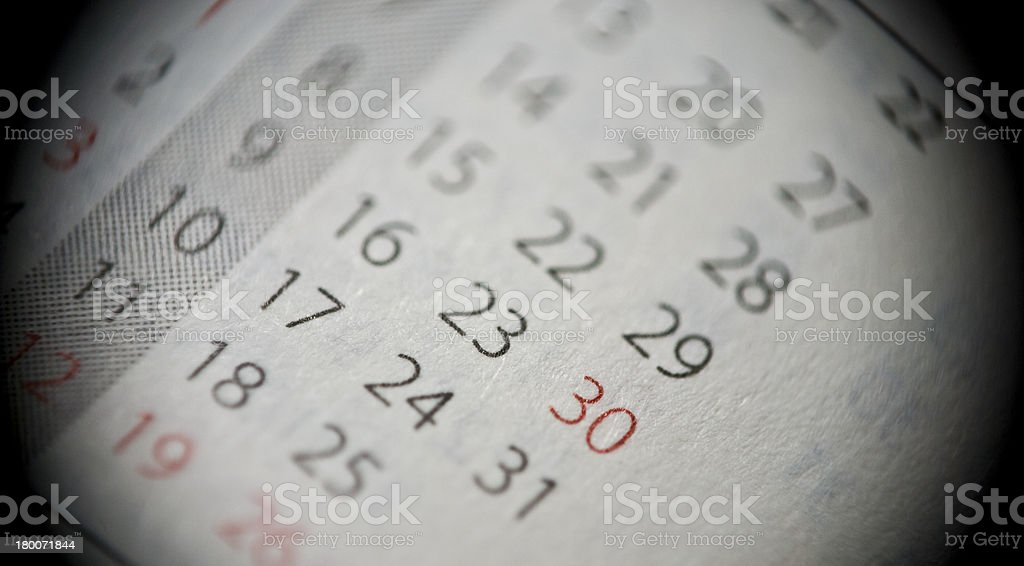 Macro of personal organizer or calendar royalty-free stock photo