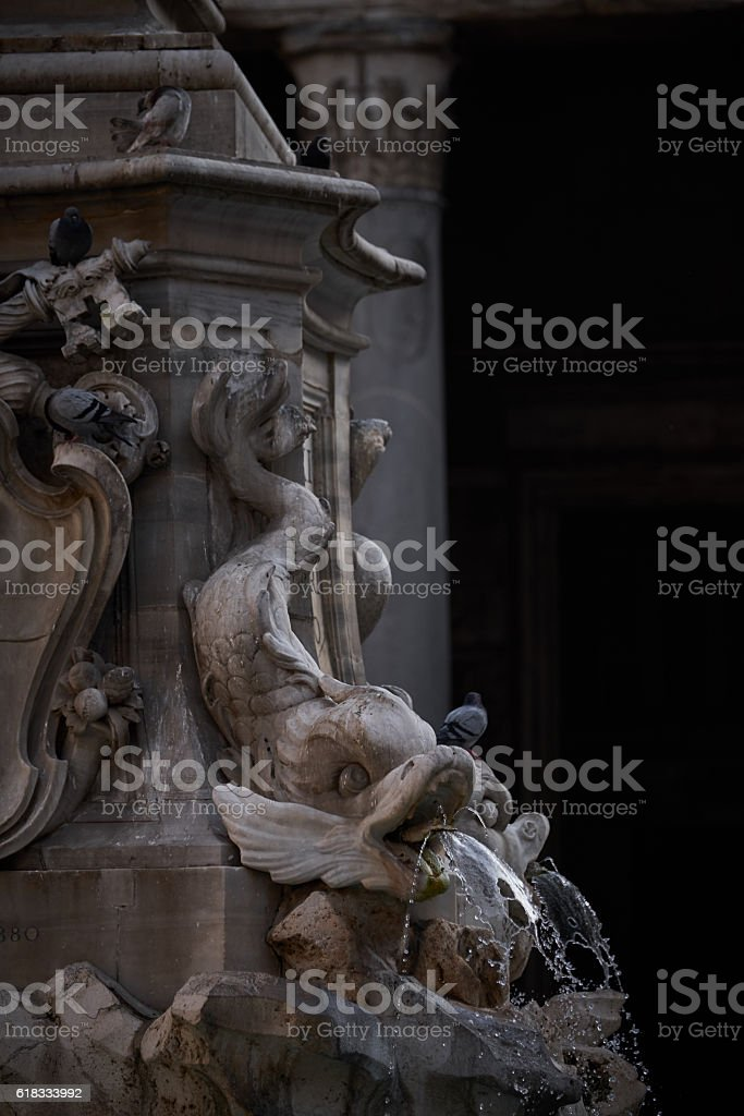 Macro of Renaissance fountain marble decoration by the famous Pantheon stock photo