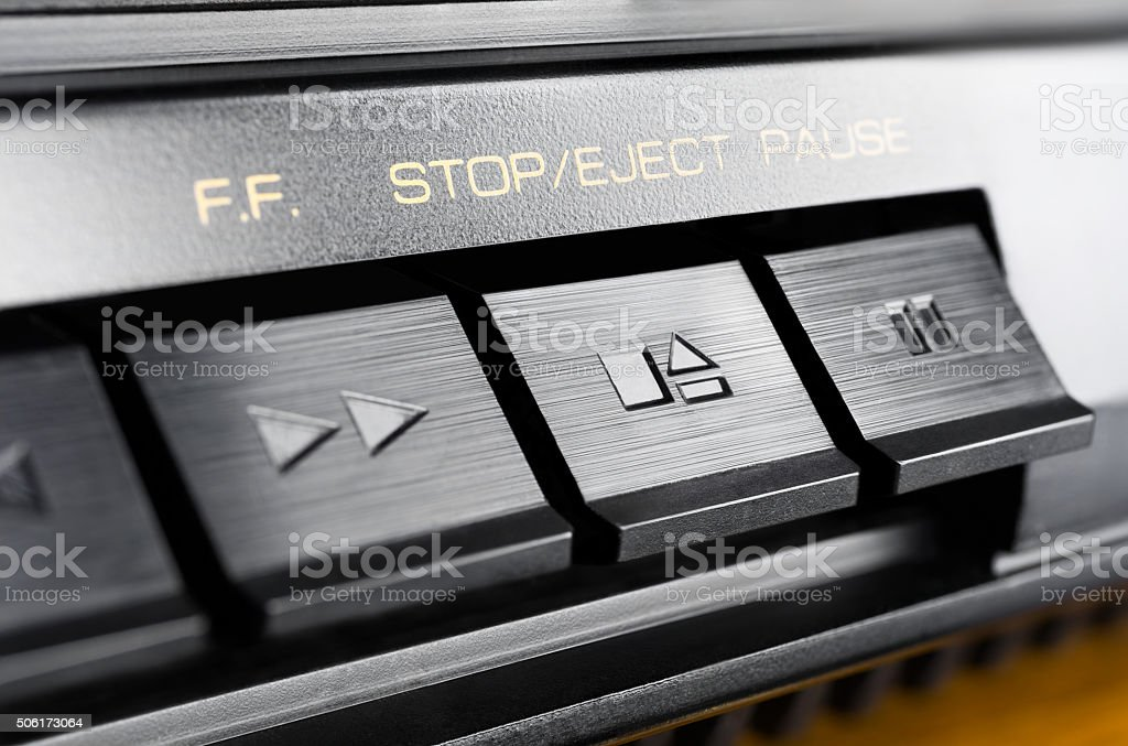 Macro Of Stop / Eject Button Of An Audio System stock photo