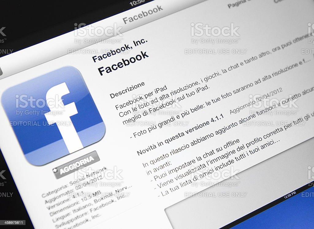 Macro of the facebook app in apple store, ipad 3 royalty-free stock photo