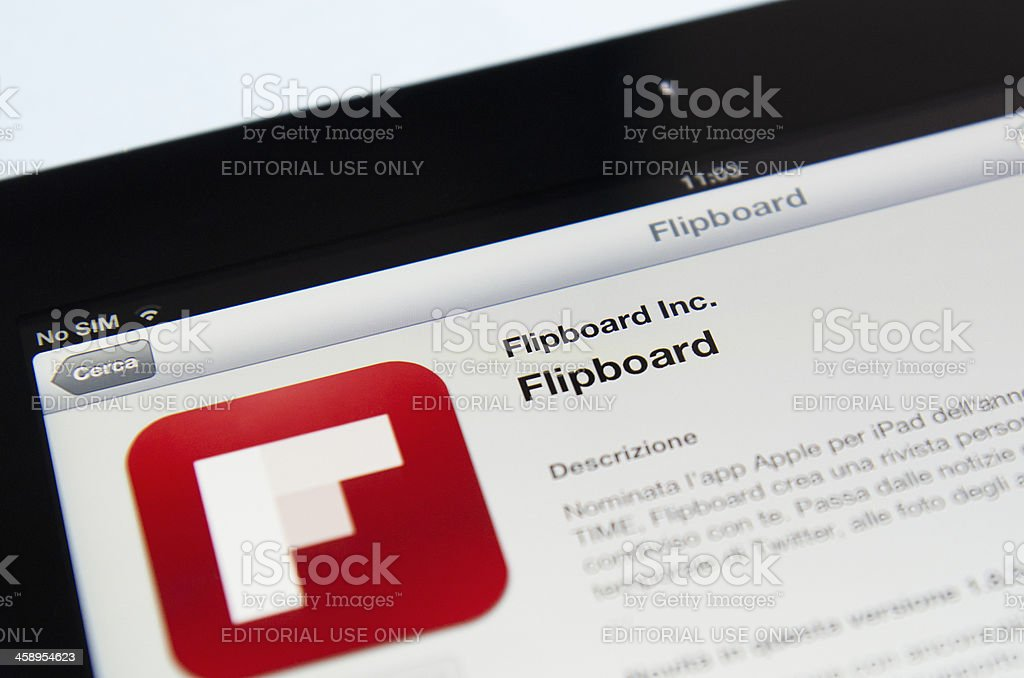 Macro of the Flipboard app in apple store, ipad 3 royalty-free stock photo