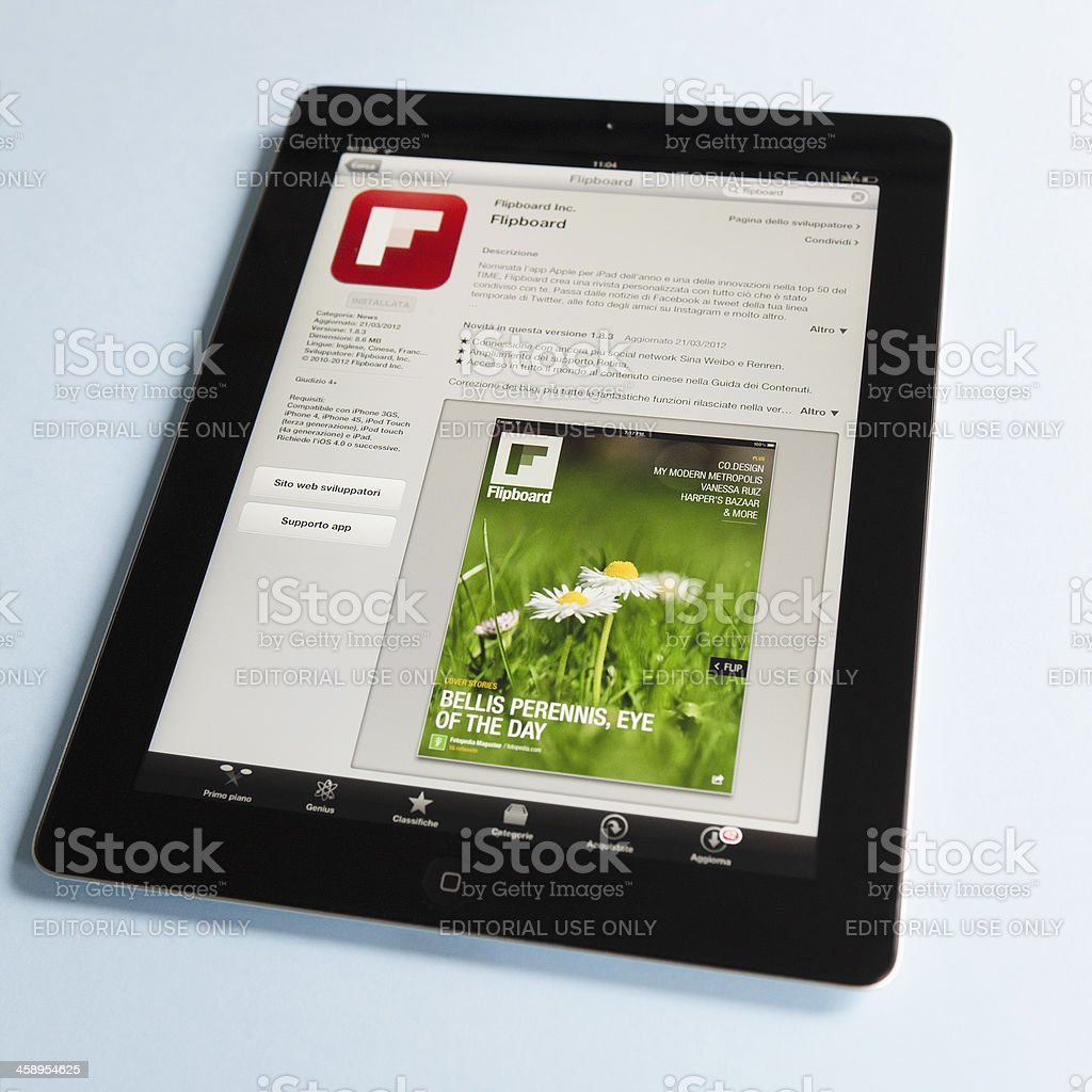 Macro of the Flipboard app in apple store, ipad 3 stock photo