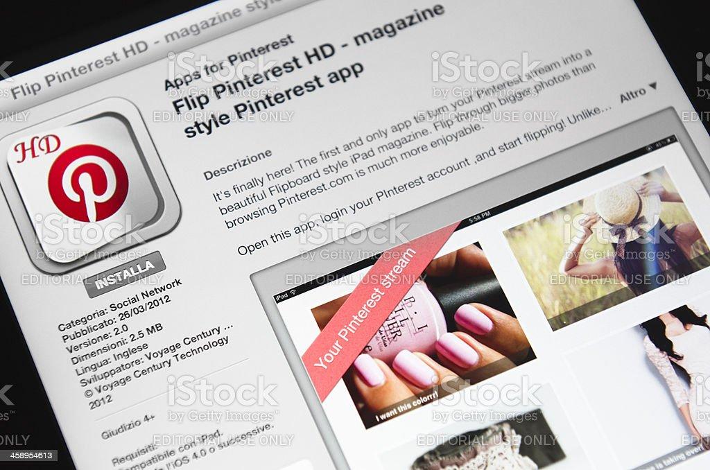 Macro of the Pinterest app in apple store, ipad 3 stock photo