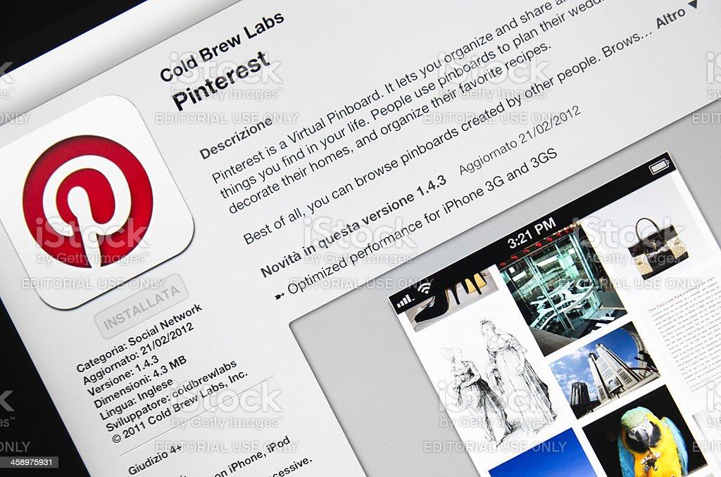 Macro of the Pinterest app in apple store, ipad 3 royalty-free stock photo