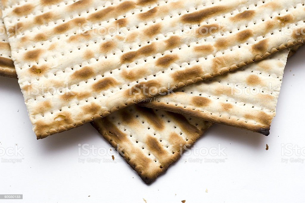 Macro of Three Matzoh (matza) stock photo