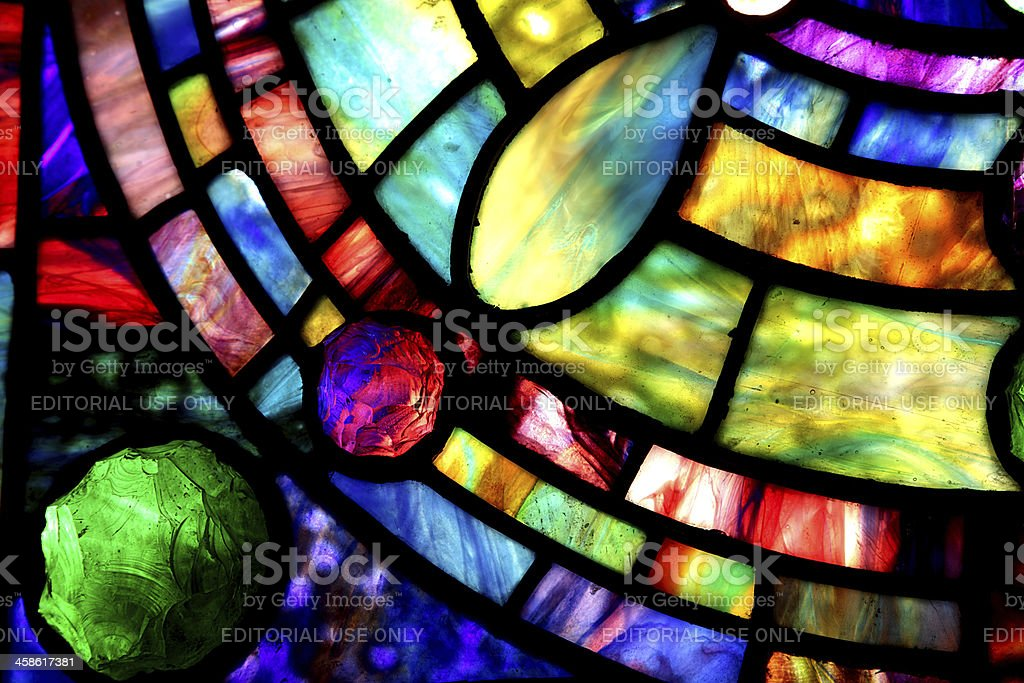 Macro of Tiffany Stained Glass Window stock photo