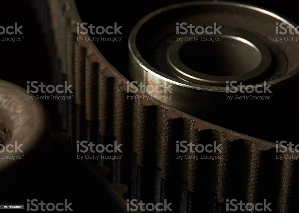 macro of timing belt teeth stock photo
