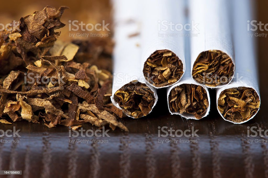 macro of tobacco and cigarettes royalty-free stock photo