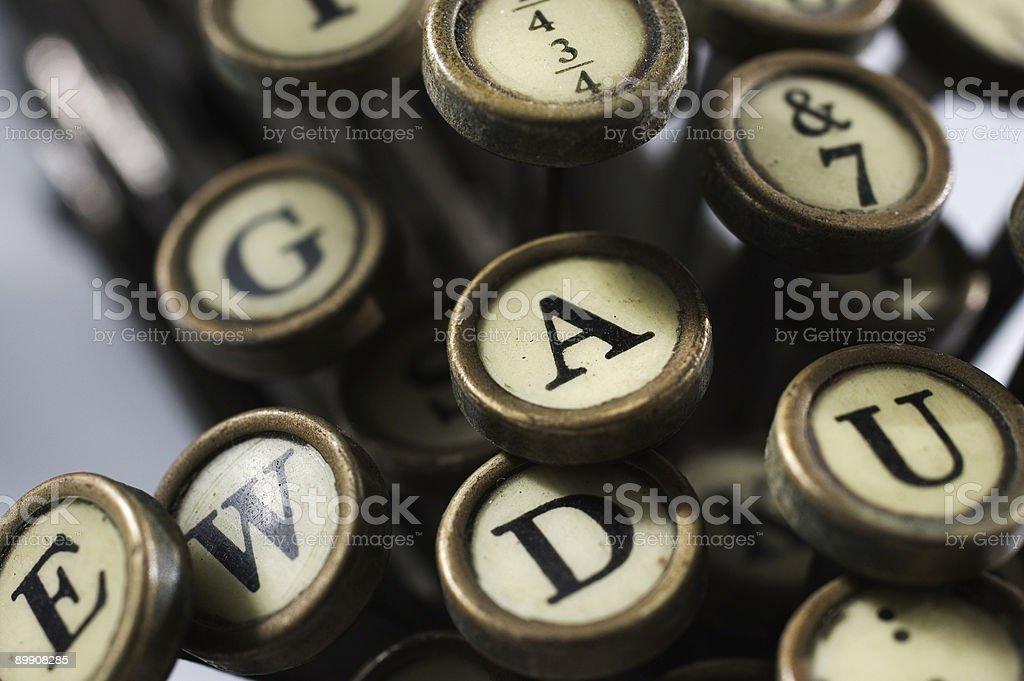 macro of typewriter keys stock photo
