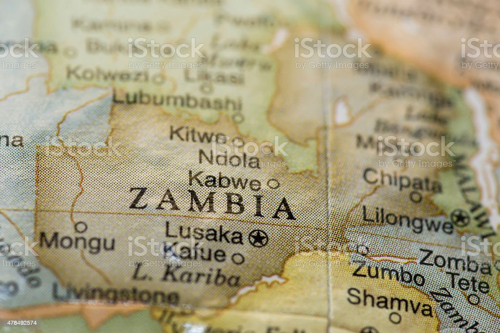 Macro of Zambia on a globe stock photo