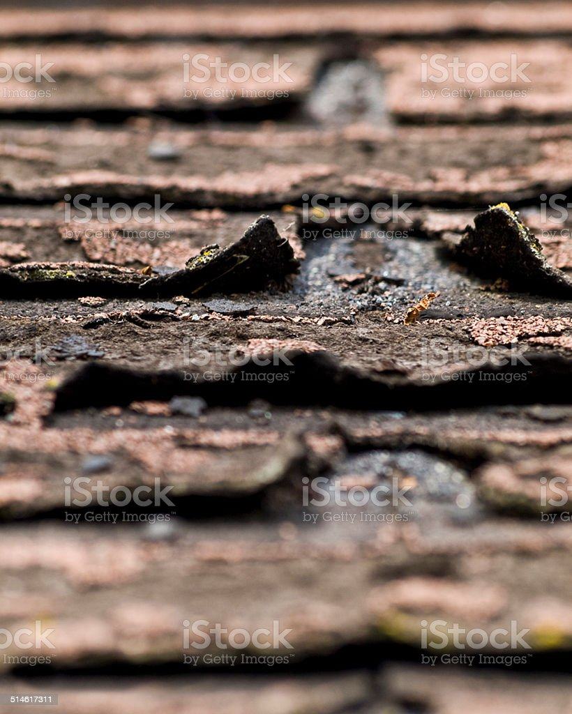 Macro Old Asphalt Shingles stock photo
