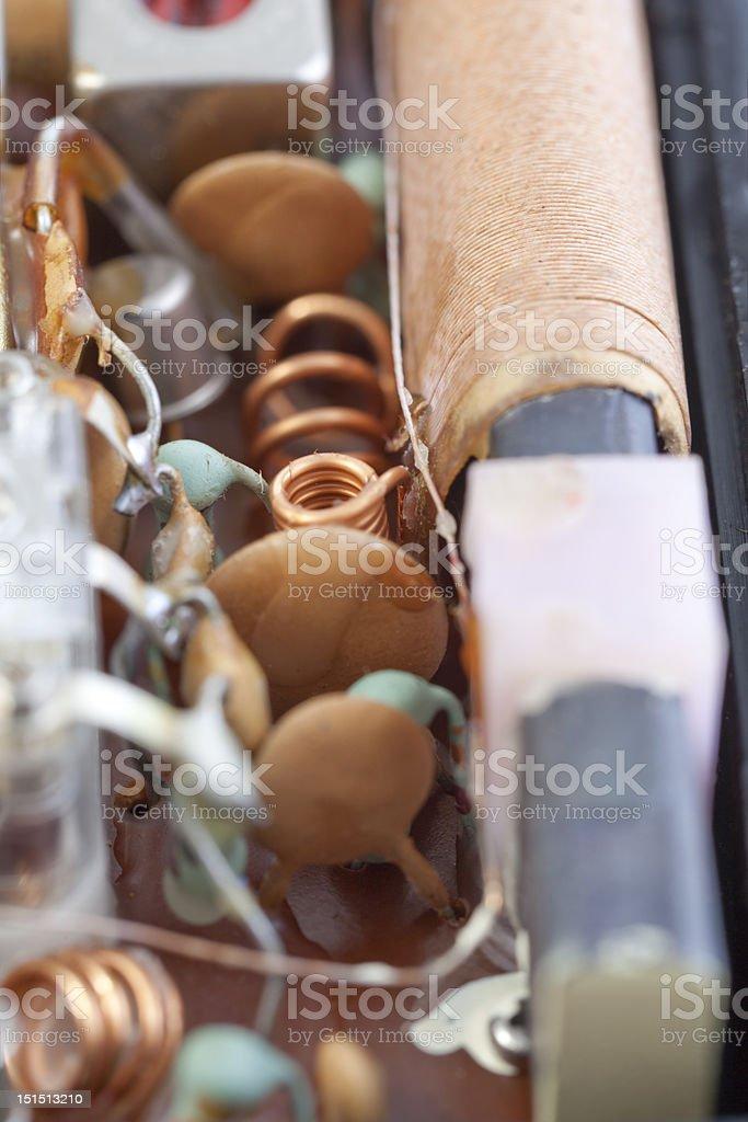 XXXL Macro Old Transistors Inside Transistor Radio Magnet Copper Close-Up stock photo