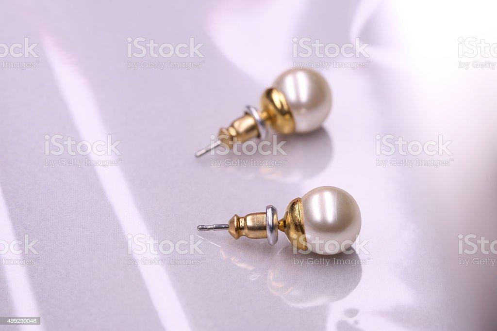 Macro Pearls Earrings stock photo
