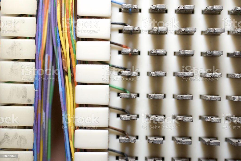 Macro phone wires stock photo