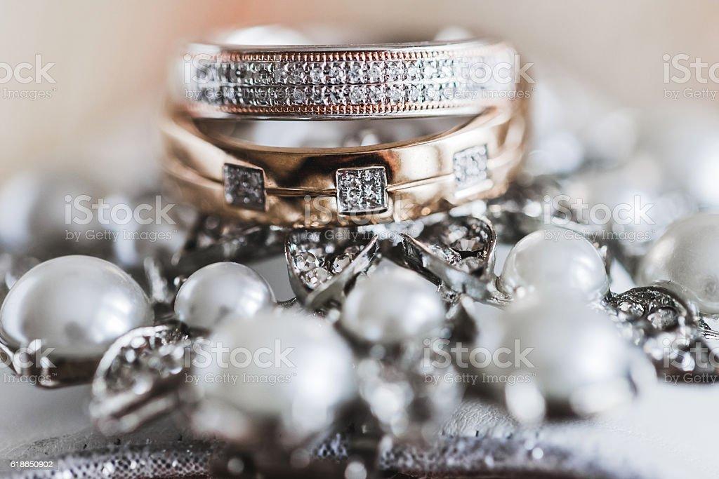 Macro photo of wedding rings stock photo
