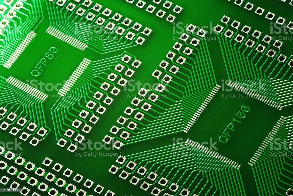 Macro Photography of a green Microcircuit technology royalty-free stock photo