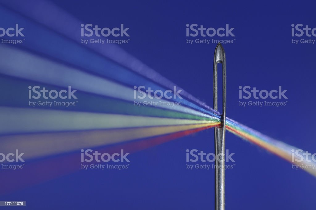 Macro picture. Needle and a thread. stock photo