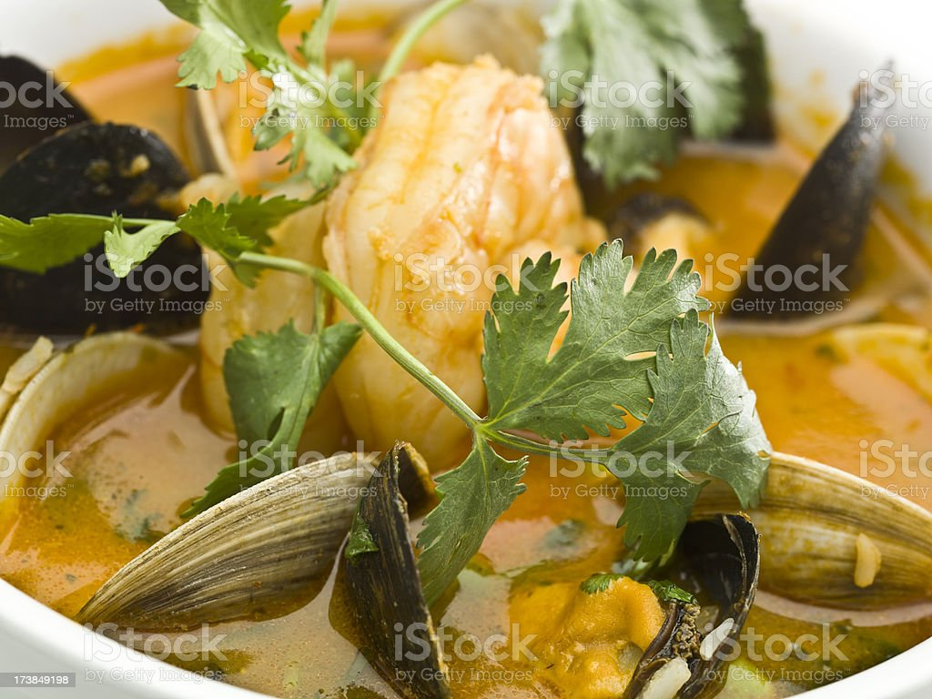 Macro picture of a bowl full of seafood soup royalty-free stock photo