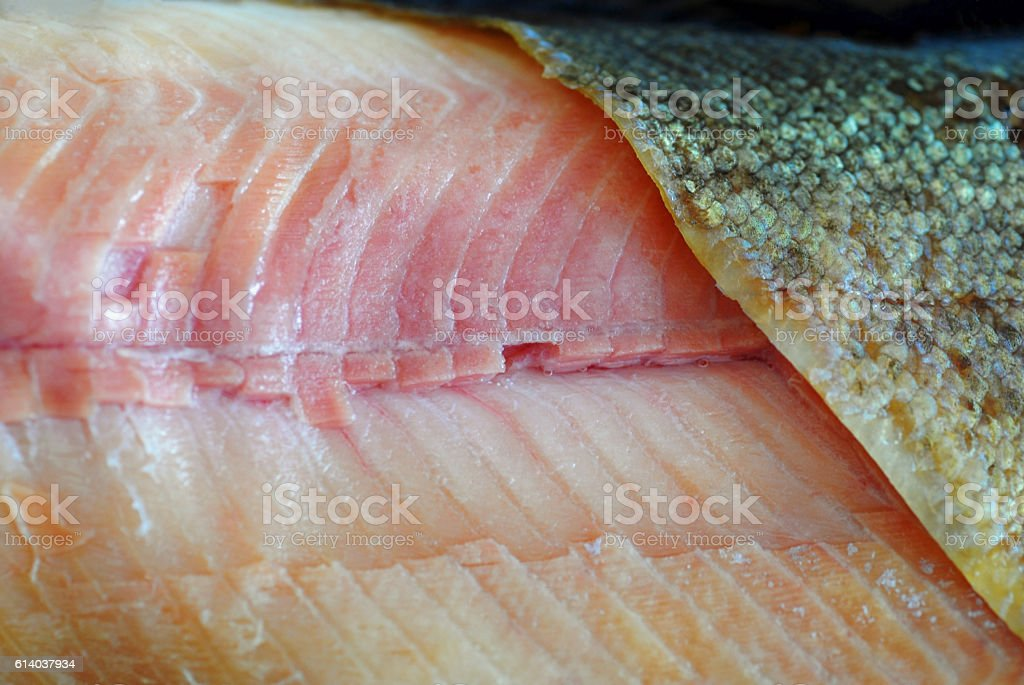 Macro picture of a smoked freshwater Trout fillet. stock photo