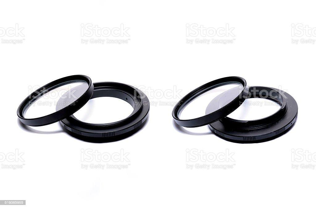 Macro reverse ring for DSLR SLR camera stock photo