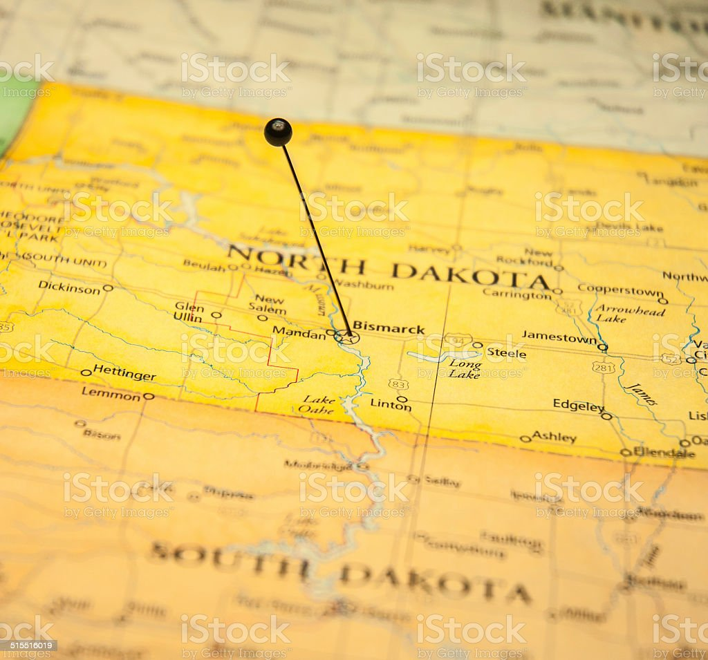 Macro Road Map Of Bismark North Dakota stock photo