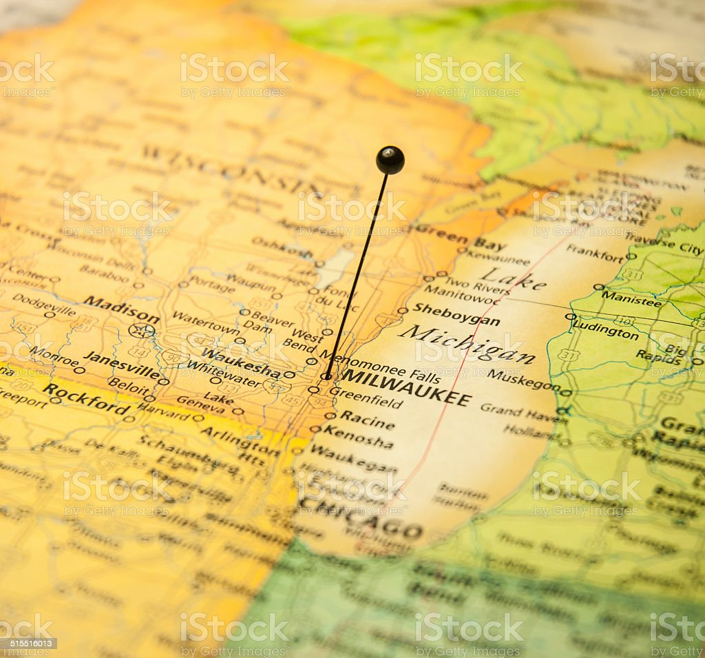 Macro Road Map Of Milwaukee Wisconsin And Chicago stock photo