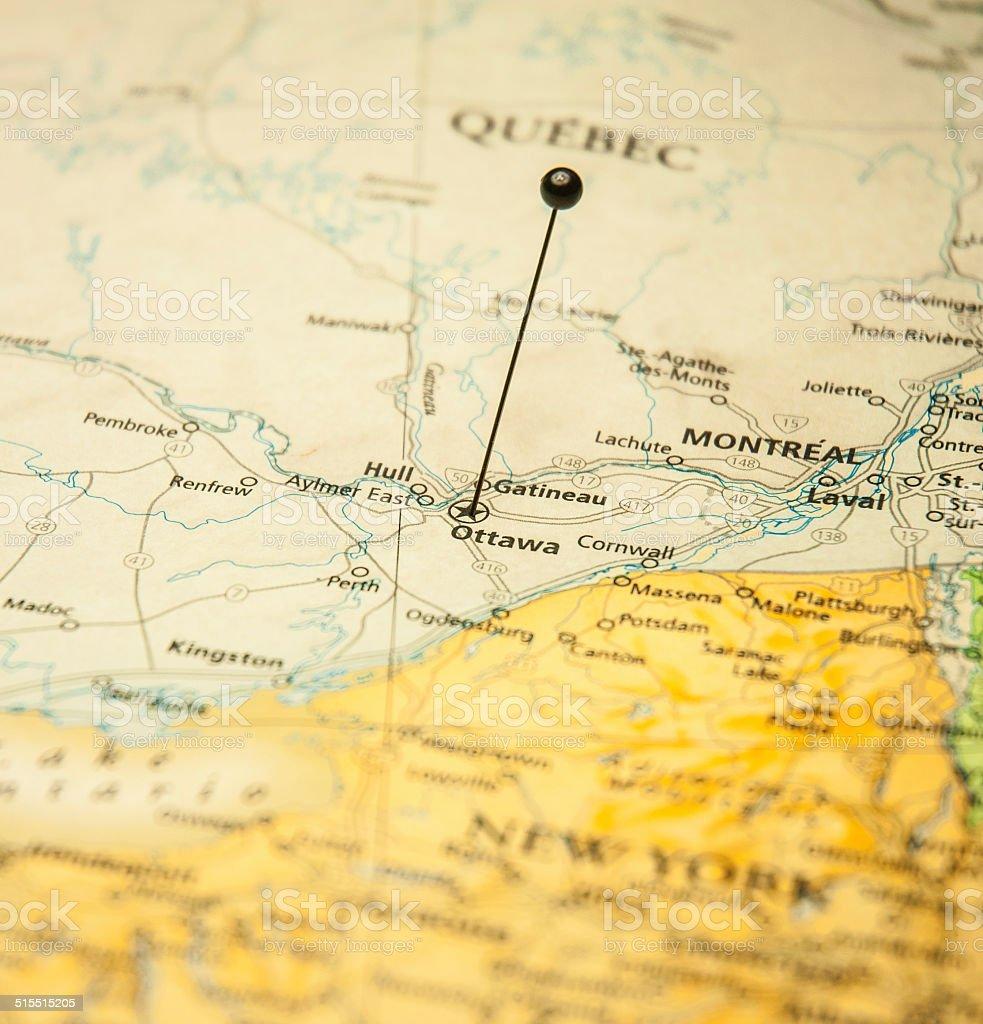 Macro Road Map Of Ottawa Montreal Canada And International Borderline stock photo