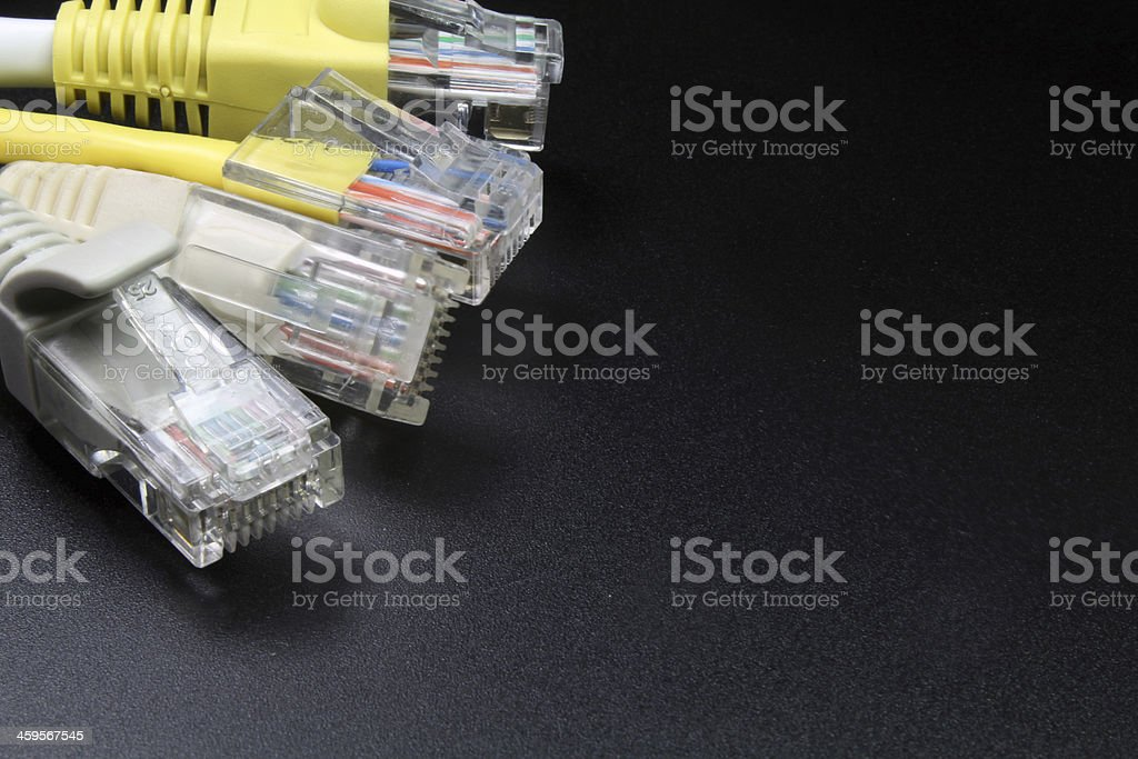 macro several RJ45 network connector on black background stock photo
