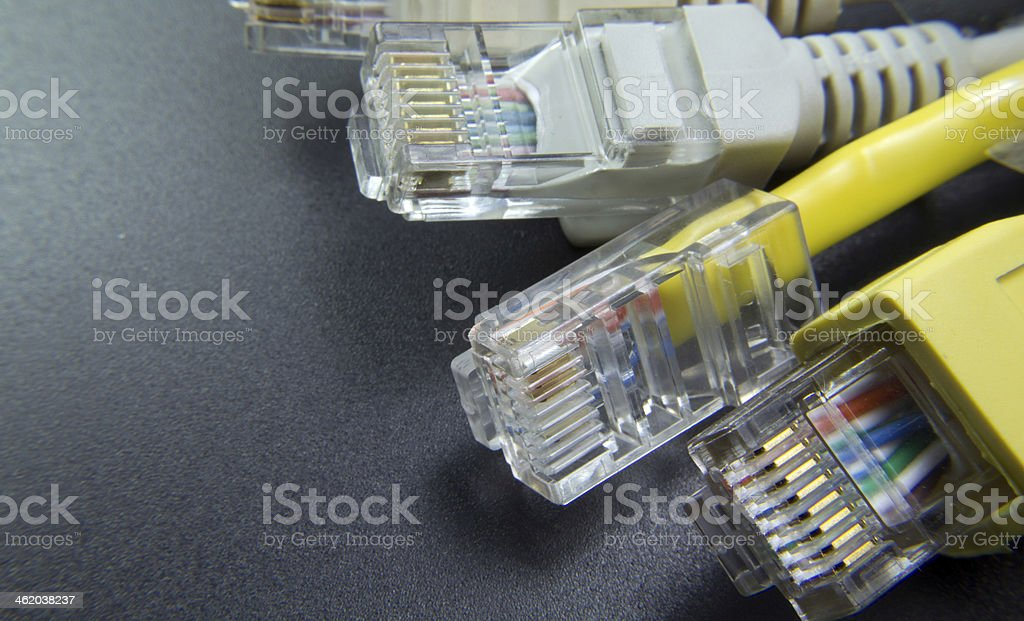 macro several RJ45 network connector on black background royalty-free stock photo