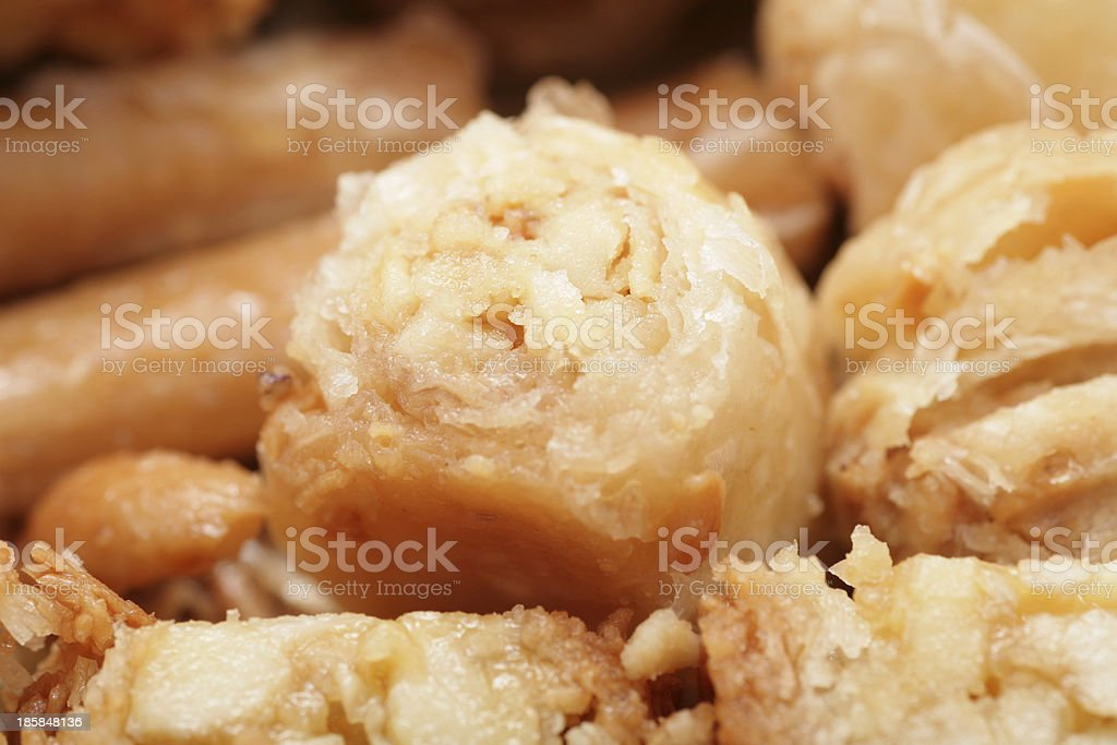 Macro shot of a tasty arabian desert Baklava. royalty-free stock photo